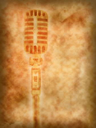 Microphone retro on texture of old paper