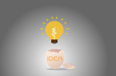 illustration of cracked egg with orange Light bulb  illustration