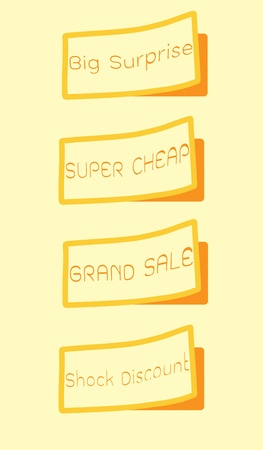 Set of labels with  Grand Sale, Big Surprise, Super Cheap, Shock Discount Text  photo