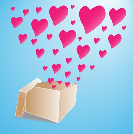 Opened Box with flying hearts