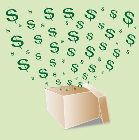 broaden: Opened Box with flying dollars  Stock Photo