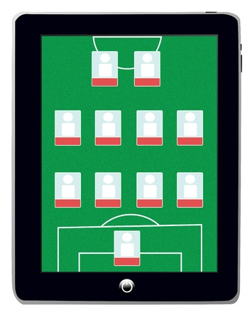 Soccer Field Screen on Smart Tablet   photo