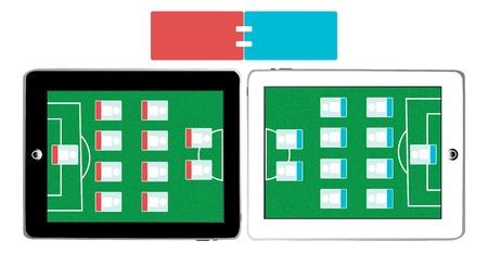 Soccer Field Screen with Score Board on Smart Tablet photo