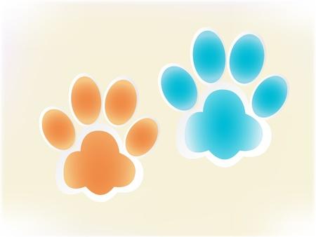 huellas de perro: Huellas de perro que brilla intensamente vector Vectores