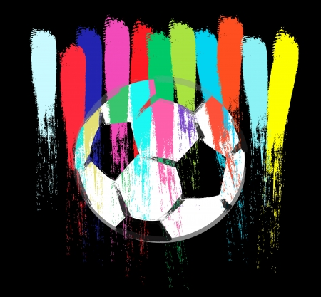 Illustration of colorful painted soccer ball abstract illustration