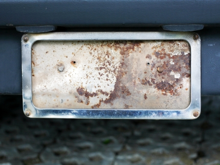 license plate: old rusty car plate