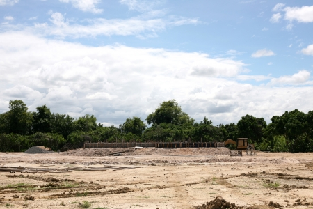 site: Under construction site with blue sky background