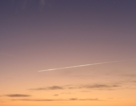 meteor: flying meteor on morning sky background Stock Photo