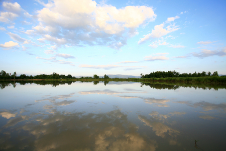 tranquilly: Beautiful clouds and blue sky reflection on water surface
