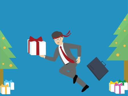 Businessman feeling happy with gift boxes.  Christmas and new year concept. flat design. vector illustration
