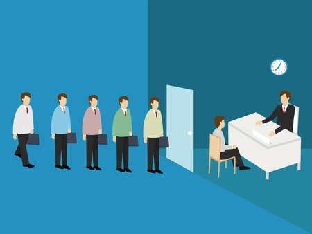 looking for job: Business men line up to apply for a job. Job Application concept. Isometric 3d design. vector illustration Illustration