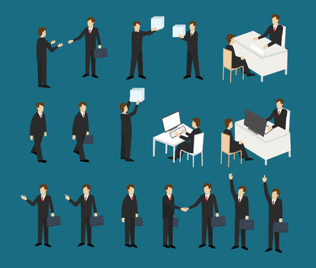 Actions of business men . Business actions concept. Isometric 3d design. vector illustration Illustration
