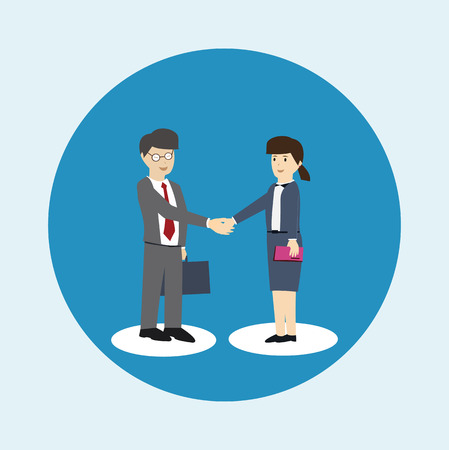 Business man and business women are shaking hands. Co-operation concept. flat design. vector illustration
