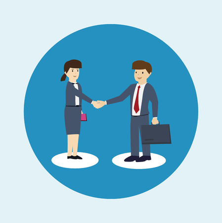 co operation: Business man and business women are shaking hands. Co-operation concept. flat design. vector illustration