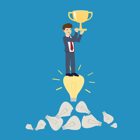 winning idea: Businessman winning with the trophy cup. Winner and idea concept. flat design. vector illustration Illustration