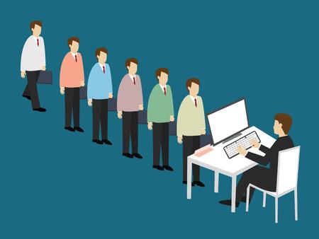 line up: Business men line up to apply for a job. Job Application concept. Isometric 3d design. vector illustration Illustration