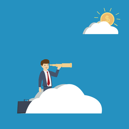 Business man use telescope on the cloud. Business vision concept. flat design. vector illustration