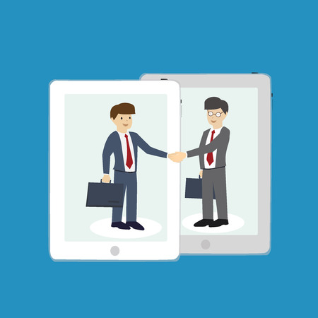 co operation: Business man are shaking hands. Co-operation concept. flat design. vector illustration