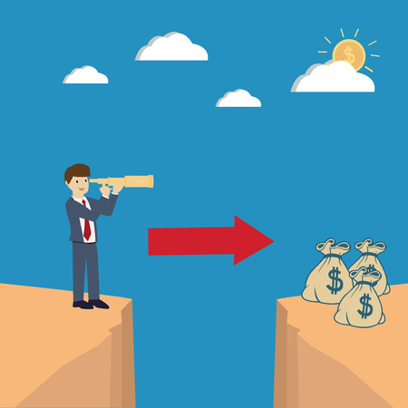 Business man use telescope on the cliff. Business vision concept. flat design. vector illustration Illustration