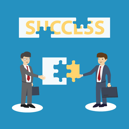 co operation: businessman giving jigsaw to another man. Co-operation concept. flat design. vector illustration Illustration