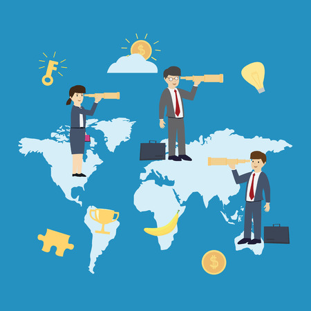 Business man use telescope on the world map. Business world searching concept. flat design. vector illustration