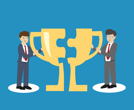 Businessman giving Trophy to another man. Co-operation concept. flat design. vector illustration