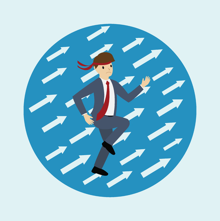 Business man with upper arrows. Business concept. flat design. vector illustration