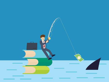 investor: Businessman is fishing : Business concept flat design vector illustration Illustration