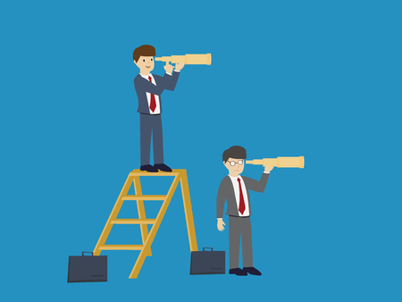 Businessman with telescope : Business concept flat design vector illustration