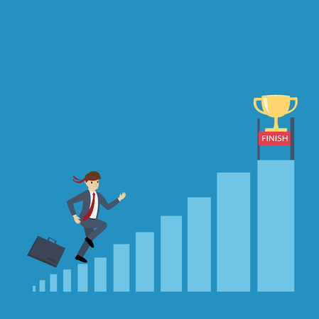 Businessman running to the trophy cup : Business concept flat design vector illustration
