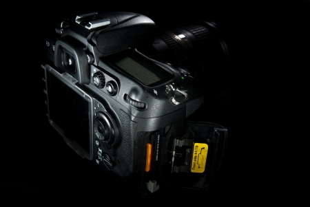 Back shot of a DSLR with dual slots