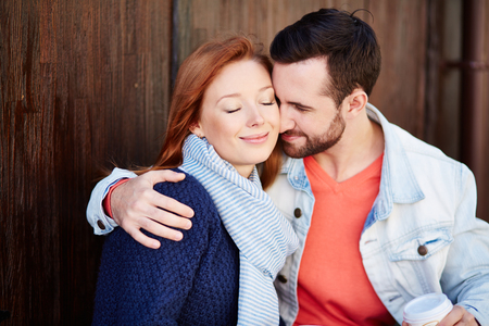 candid: Candid portrait of beautiful couple in love Stock Photo