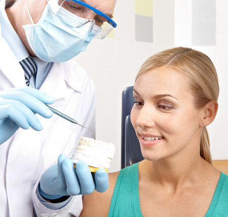 artificial model: Dentist showing female patient artificial model of teeth