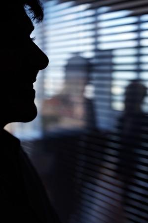 jalousie: Shadow of a man peeping through the office jalousie Stock Photo