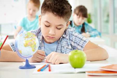diligent: Diligent schoolboy sitting at lesson with over students Stock Photo