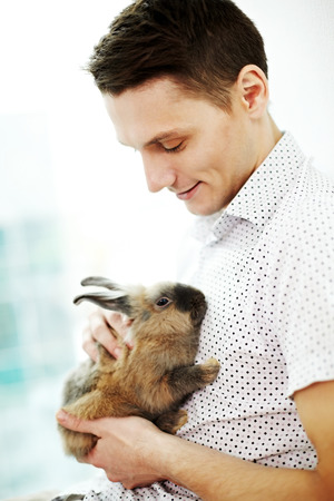 stroking: Young man stroking a little rabbit at home