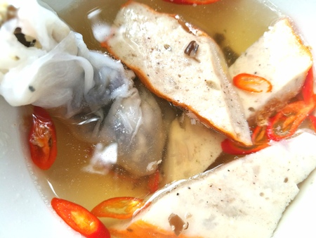 Close up of Vietnamese Banh Cuon traditional rolled food