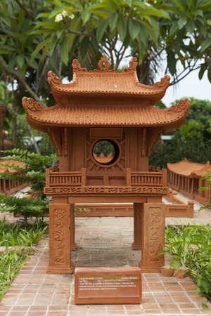 world cultural heritage: Hoi An, Vietnam - Jun 20, 2015: Model of Temple of Literature made from earthenware and displayed at Thanh Ha earthenware village, Hoi An ancient town. Hoi An is a World Cultural Heritage (UNESCO). Editorial
