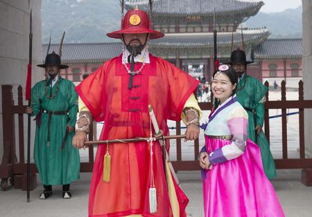 hanbok: Gyeongbokgung Palace, Korea - Sep 26, 2016: Beautiful Korean girl in Hanbok at Gyeongbokgung, the traditional Korean dress. Gyeongbok Palace, was the main royal palace of the Joseon dynasty. Editorial