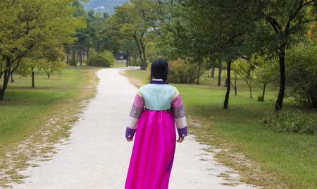 hanbok: Beautiful girl in Hanbok at Gyeongbokgung, the traditional Korean dress Stock Photo