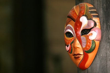 Handmade clay mask in Thanh Ha ancient pottery village, Hoi An, Vietnam Stock Photo