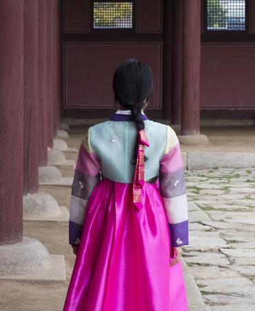 hanbok: Beautiful girl at Gyeongbokgung in Hanbok, the traditional Korean dress
