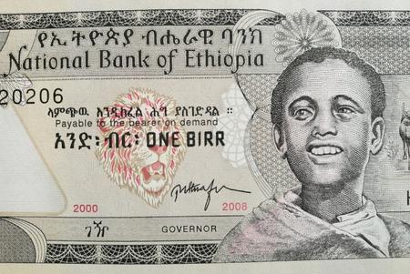 ethiopian: Close up of Ethiopian birr, Ethiopia paper bank note money Stock Photo
