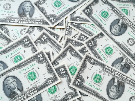 two us dollar: Dollar (USD) banknotes, currency of United States (USA). Many paper money background.