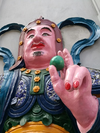 goddesses: Close up of the face of a Chinese god statue Stock Photo