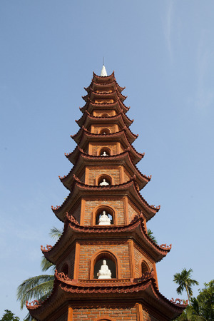 Close up of the main tower at Tran Quoc pagoda in Hanoi capital, Vietnam.