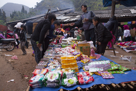 ha giang: HA GIANG, VIETNAM - NOV 15, 2014: A typical weekly flea market taking place in Lung Phin commune, Dong Van district. Flea market is very popular as one kind of small business in Vietnam.