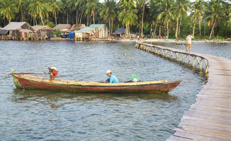 Phu Quoc, Vietnam - Mar 20, 2017: Scene of wooden long bridge and life at Rach Vem fishing village of Ganh Dau beach in Phu Quoc island, south Vietnam. Editorial