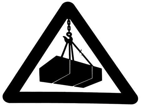suspended: Sign that warns of the danger of suspended loads Stock Photo