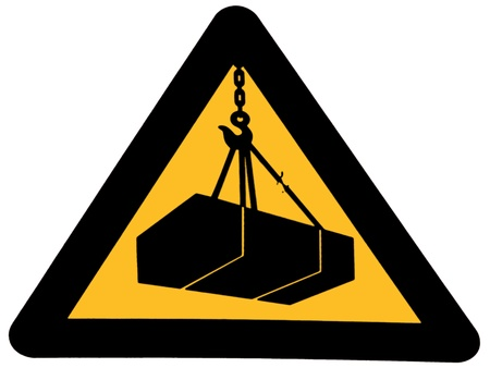 warns: Sign that warns of the danger of suspended loads Stock Photo